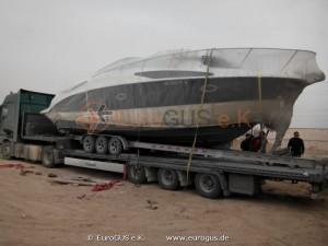 яхта на низкорамном прицепе, прибытие в Казахстан