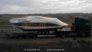 катер на низкорамном прицепе, доставка в Казахстан