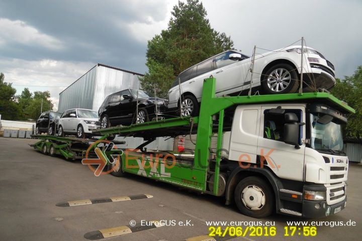 Крытый автовоз, доставка авто из Германии в Москву eurogus range rover