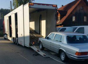 загрузка мерседеса в крытый автовоз в германии eurogus
