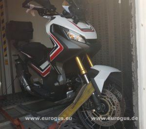 Крепление и Доставка мотоцикла из Германии в крытом автовозе eurogus