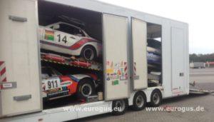 Rally Amul Hazar 2018 доставка машин команды Порше в Туркменистан из Германии в крытом автовозе на гонки