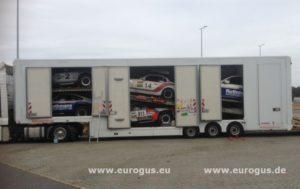 Rally Amul Hazar 2018 доставка машин команды Порше в Туркменистан из Германии в крытом автовозе на гонки eurogus