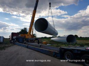 спецтранспорт, загрузка ветряка на трал eurogus