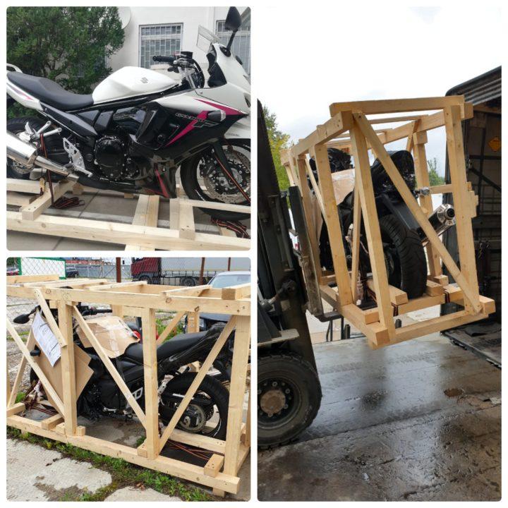доставка мотоцикла в упаковке, как часть сборного груза из Германии на таможенный склад в Москве, Зеленоград eurogus